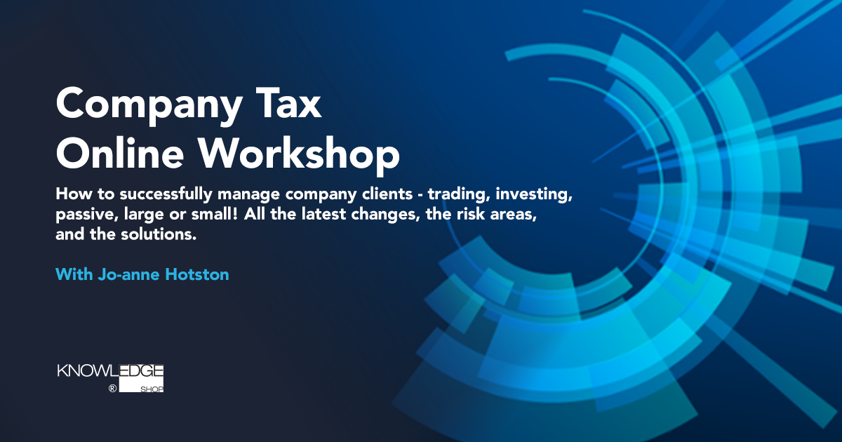 Company Tax Online Workshop with Jo-anne Hotston